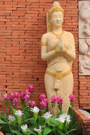 Thai sculpture in sawasdee action for welcome all guest, Thailand  photo