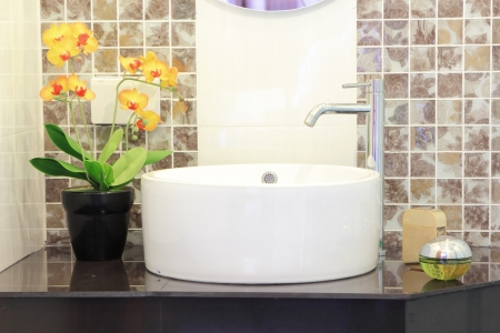 Modern bathroom in house and accessory in side. photo