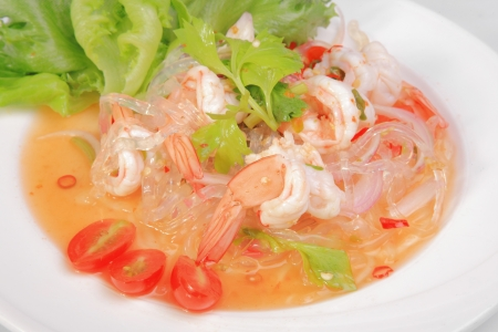 Prawn salad on dish with vegetable amd fruit photo