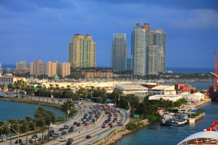 aerial city: miami city scape in day time ,forida USA