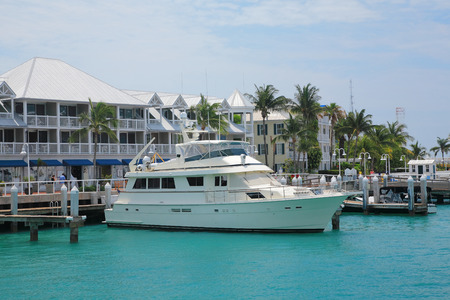 Yacht ship park in pier of key west , Florida. photo