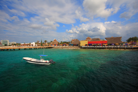 Cozumel pier with the ship in  mexico