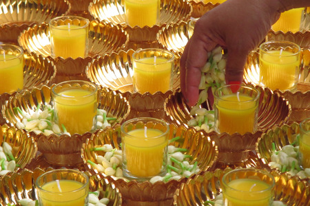 Scented candles used in the ceremony.