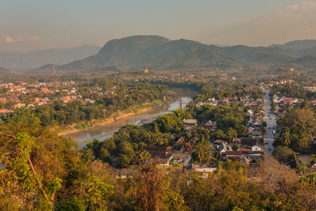 View from the house in the mountains of Laos. Stock Photo