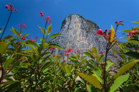 Buddha carved on boulders beautiful. Stock Photo