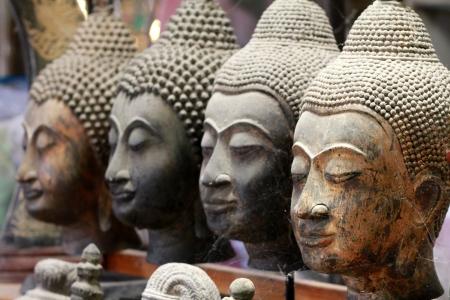 stone buddha: Stone Buddha Head Stock Photo
