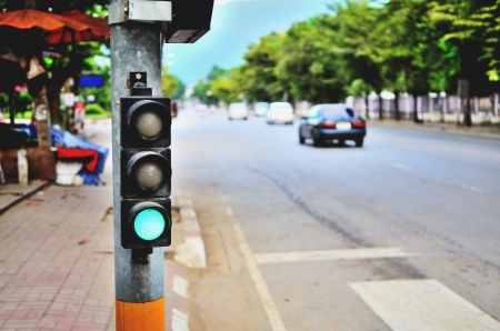 señales de transito: Semáforo Foto de archivo