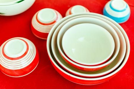 Circle of edge of set of orange  bowls