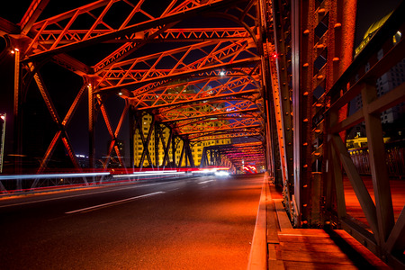 Night traffic lights inside of the Garden Bridge of shanghai china Stock Photo