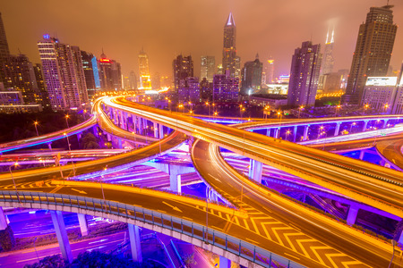 shanghai elevated road junction and interchange overpass at night