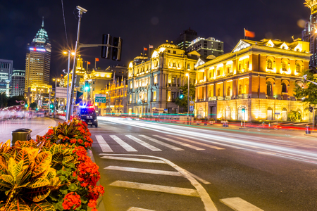Shanghai Bund is located on the banks of the Huangpu River in Shanghai