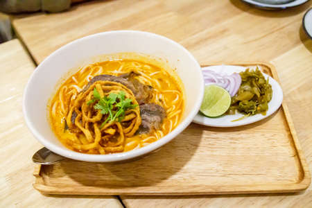 Khao Soi Noodle food of North Thai Style closeup