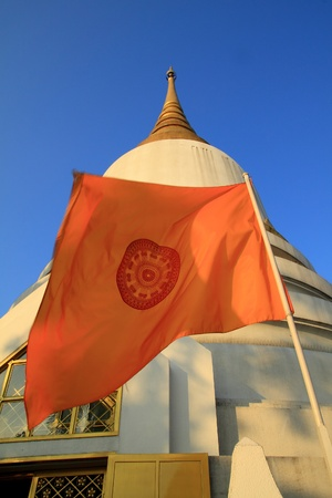 The buddhist flag Stock Photo