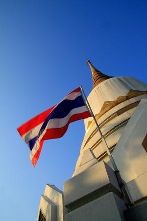 Thai national flag and pagoda Stock Photo