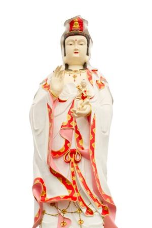 Guan yin statue in white background  Stock Photo