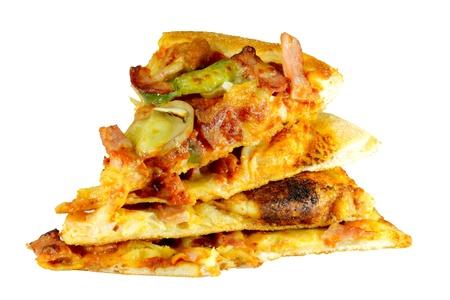 Pizzas stacked four pieces  Stock Photo