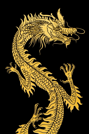 Golden dragon isolated on white.