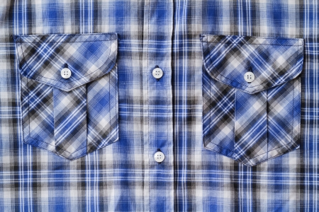 Closeup of Blue Tartan plaid Pocket Stock Photo - 16139006