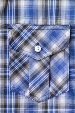 Closeup of Blue Tartan plaid Pocket photo