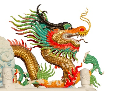 Colorful dragon isolated on white  photo