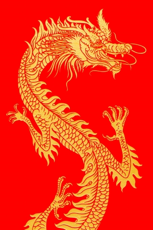 Golden dragon isolated on white  Stock Photo - 16704044