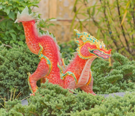 Red dragon sculpture of an ancient animal