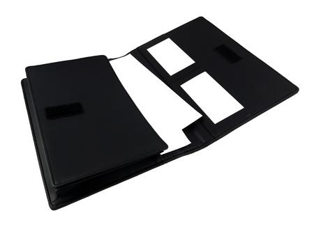 black briefcase: Malet�n negro aislado en blanco