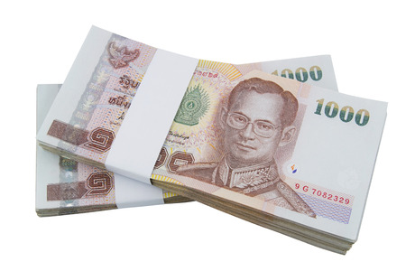 smacker: Stacked of Thai cash on white background