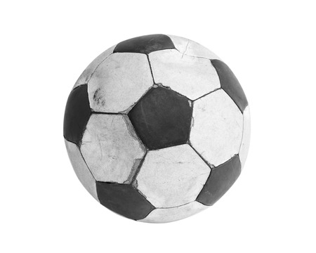 Old football isolated on white