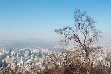 Seoul city in winter season photo
