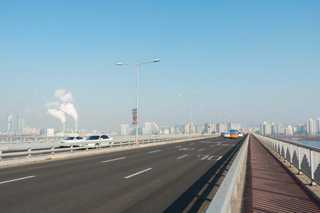 Highway traffic at Seoul in morning Stock Photo