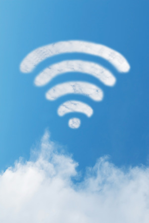 Wifi cloud shape with blue sky  photo