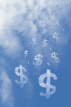 on air sign: Cloud dollar sign falls from the sky