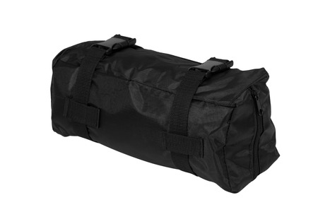 duffel: Black packet isolated on white Stock Photo
