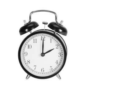 Two O Clock on alarm clock isolated on white