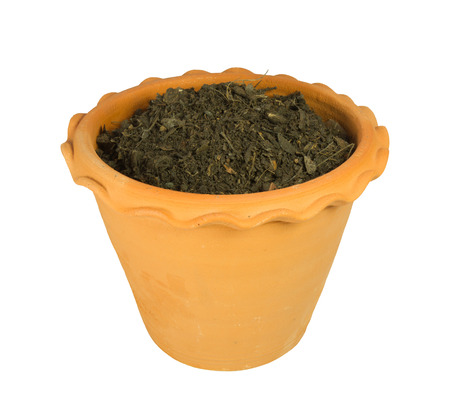 Flower pot with soil isolated on white