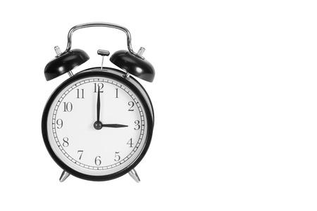Three O Clock on alarm clock isolated on white Stock Photo