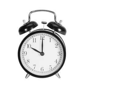 Ten O Clock on alarm clock isolated on white Stock Photo