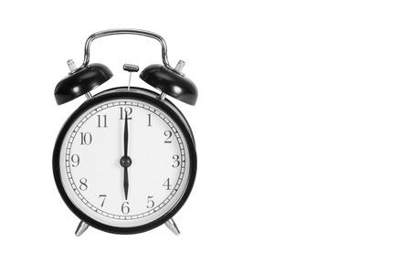 o'clock: Six oclock on alarm clock isolated on white Stock Photo