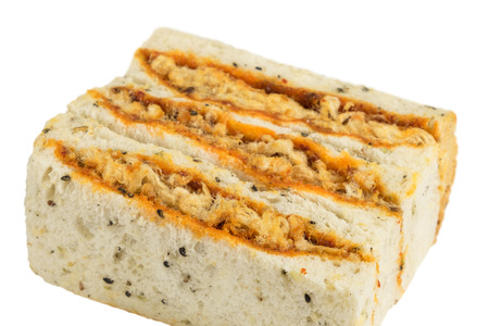 Sandwich isolated on white, shredded pork with black sesame bread Stock Photo