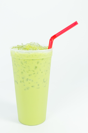 Ice green tea in plastic glass Stock Photo
