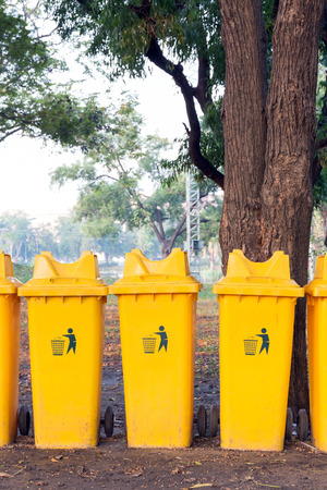 Recycle bins in public park