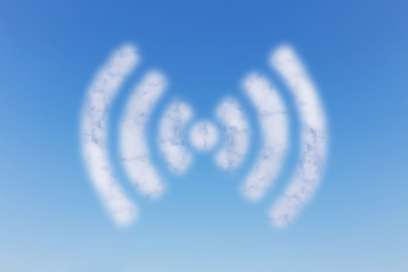 WIFI cloud on blue sky background