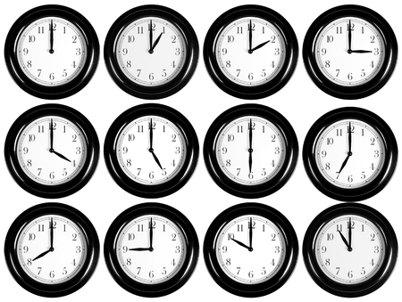 Wall clocks collection isolated on white Stock Photo