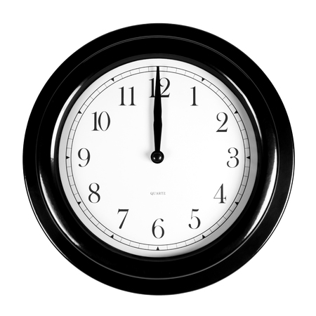 Twelve oclock on the black wall clock, isolated on white Stock Photo