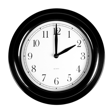 Two oclock on the black wall clock, isolated on white