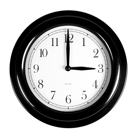 Three oclock on the black wall clock, isolated on white