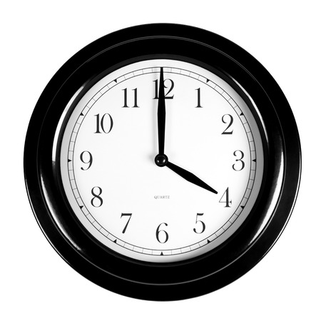Four oclock on the black wall clock, isolated on white