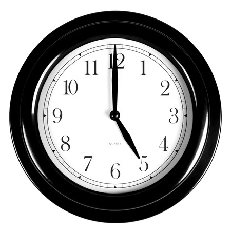 Five oclock on the black wall clock, isolated on white