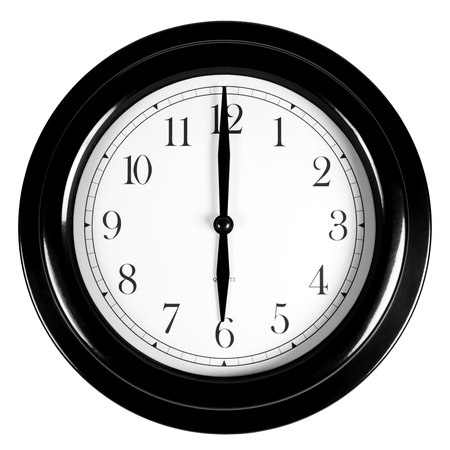 Six oclock on the black wall clock, isolated on white